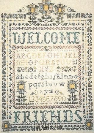 The Sewing Circle - A Victorian Welcome - Cross Stitch Pattern-The Sewing Circle - A Victorian Welcome, Welcome friends, sampler, flowers, alphabet, Cross Stitch Pattern