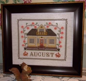 Twin Peak Primitives - I'll Be Home Mystery Series - Part 008 - August Cottage-Twin Peak Primitives - Ill Be Home Mystery Series - August Cottage, summer, home, calendar, cross stitch