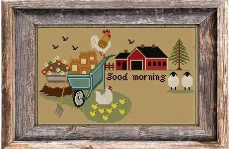 Twin Peak Primitives - Dawn at the Barn-Twin Peak Primitives - Dawn at the Barn, ducks, barn, farm, morning, wagon, cross stitch, country,