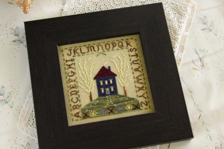 October House - Upon a Hill-October House - Upon a Hill, home, flowers, top, cross stitch