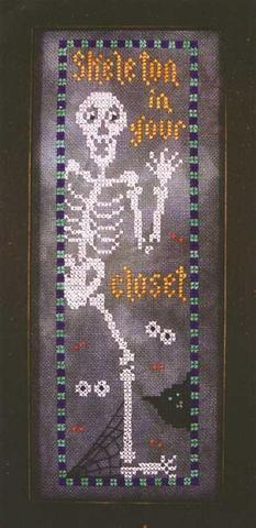 Val's Stuff - Skeleton in Your Closet-Vals Stuff - Skeleton in Your Closet, Halloween, spider web, trick or treat, ghost, cross stitch