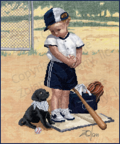 The Stitching Studio - Wait Your Turn - Cross Stitch Pattern-The Stitching Studio, Wait Your Turn, little boy, baseball, baseball bat, black puppy, Cross Stitch Pattern