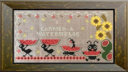 Twin Peak Primitives - Carrying Watermelon-Twin Peak Primitives - Carrying Watermelon, picnic, ants, fruit, eating, cross stitch