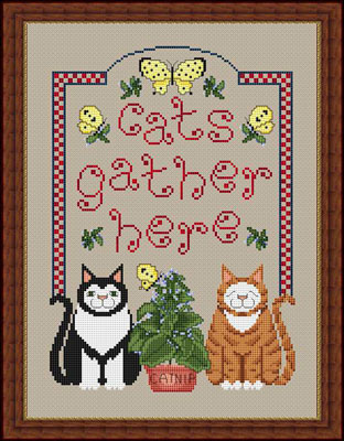 Whispered by the Wind - Cats Gather Here - Cross Stitch Pattern-Whispered by the Wind, Cats Gather Here, kitty, tabby cat, black and white kitty, cat nip, butterfly, plant, animals, Cross Stitch Pattern