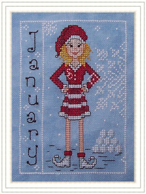 Whispered by the Wind - Elves of the North Pole - Part 01 of 12 - Miss January - Cross Stitch Pattern