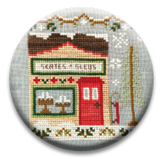 Stitch Dots - Country Cottage Needleworks - Snow Village - Skate & Sled Shop Needle Nanny-Stitch Dots - Country Cottage Needleworks - Snow Village - Skate  Sled Shop Needle Nanny