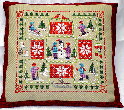 Handblessings - Winter Quilt - Cross Stitch Chart with Charms-Handblessings, Winter, Quilt,Cross, Stitch Chart, with, Charms, Christmas, snowman, ice skating, poinsettia, children,