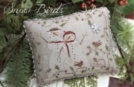 With Thy Needle & Thread - Snow Birds-With Thy Needle  Thread - Snow Birds, snow man, winter, snow, cross stitch, snowflakes,