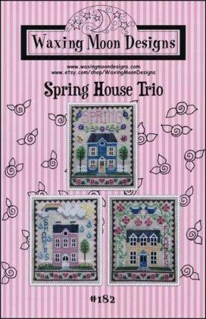Waxing Moon Designs - Spring House Trio-Waxing Moon Designs - Spring House Trio, spring, houses, flowers, sunshine, trees, cross stitch