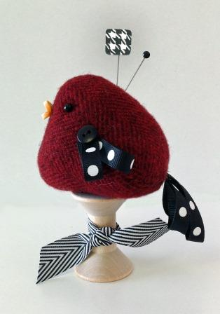 Just Another Button Company - Wooly Bird Pincushion Kit-Just Another Button Company - Wooly Bird Pincushion Kit, cardinal, pins, spool, sewing