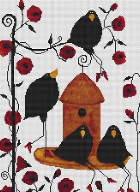 White Willow Stitching - Out To Lunch - Cross Stitch Pattern-White,Willow, Stitching,Out, To, Lunch, Cross,Stitch,Pattern, crows, bird, birdhouse, trees, flowers, hungry, food,