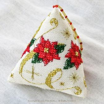 Faby Reilly Designs - Poinsettia Humbug-Faby Reilly Designs - Poinsettia Humbug, Xmas ornament, Christmas, holiday, decoration,pointsettia flowers, garland, humbug