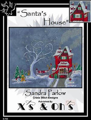 X\'s & Oh\'s - Santa\'s House - Cross Stitch Pattern-X's & Oh's, Santa's House, Christmas, gingerbread man, snowman, reindeer, North Pole, snow, santa's slegh, Cross Stitch Pattern