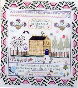 Praiseworthy Stitches - Yellow House Sampler - Cross Stitch Pattern