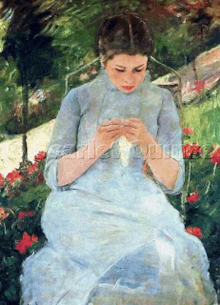 Scarlet Quince -Young Woman Sewing in a Garden - Cross Stitch Pattern-Scarlet Quince -Young Woman Sewing in a Garden - Cross Stitch Pattern